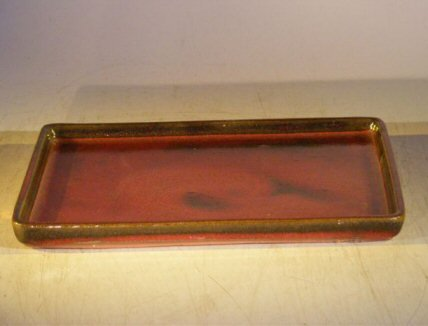 Bonsai Boy's Parisian Red Ceramic Humidity Drip Bonsai Tray - Rectangle 7 5 x 5 5 x 1 0 OD 7 5 x 5 5 x 5 ID (Bonsai Ceramic)