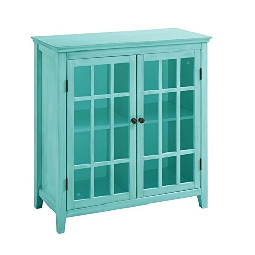 BOWERY HILL Antique Double Door Curio Cabinet in Turquoise (Curio Cabinet Blue)