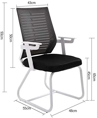 TYX-SS Bureau Chaise De Bureau, Chaise Ergonomique Ordinateur avec Bras Et Support Arrière sans Roues, Mesh Fauteuil Lounge Loisirs Lumbar,White Black
