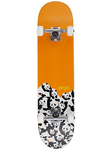 (Enjoi Panda Pile FP Complete Skateboard,Orange,31.3