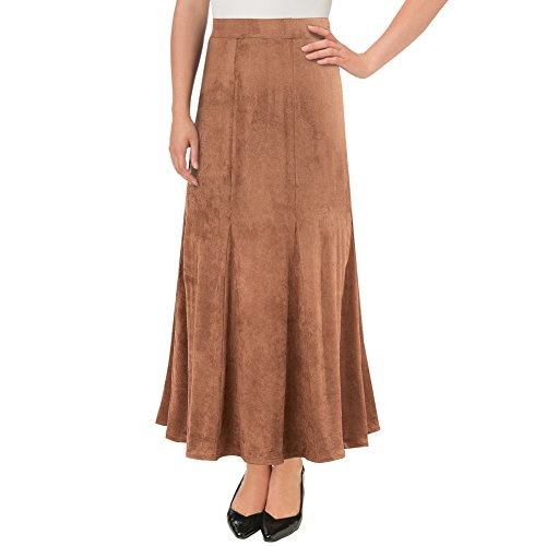 Women's Faux Suede Long Elastic Waist Godet Skirt, Camel, Medium - Made in The USA
