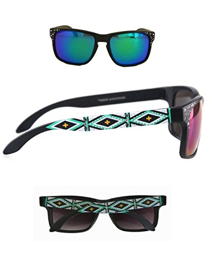 Montana West Ladies Sunglasses Aztec Design Thin Frame Color Lense, - Suns Sunglasses Aztec