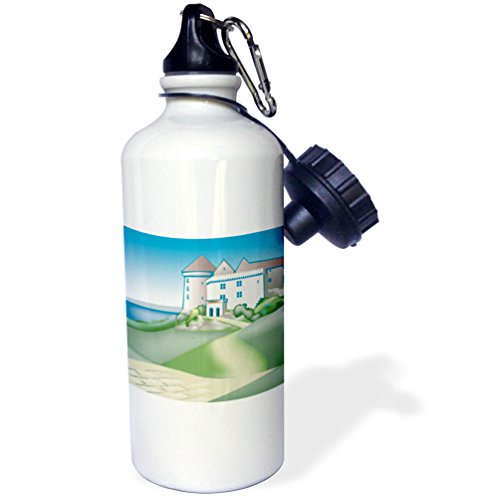 3dRose TDSwhite – Castle Sketches - Castle Drawing Lake Stone Road Fairy Tale Medieval Historical - 21 oz Sports Water Bottle (wb_284235_1) by 3dRose
