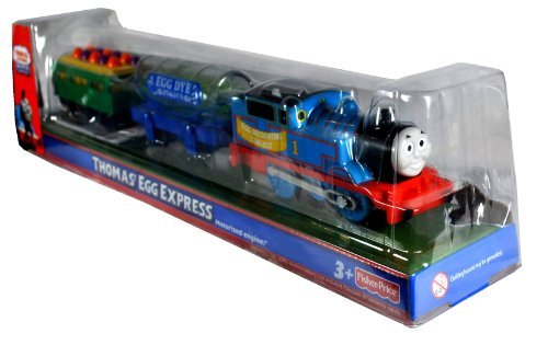 Engine Train Thomas Battery Powered (Thomas and Friends Easter Exclusive Trackmaster Motorized Railway Battery Powered Tank Engine 3 Pack Train Set - THOMAS' EGG EXPRESS with Egg Dye Factory Tank Car and Green Wagon Filled with