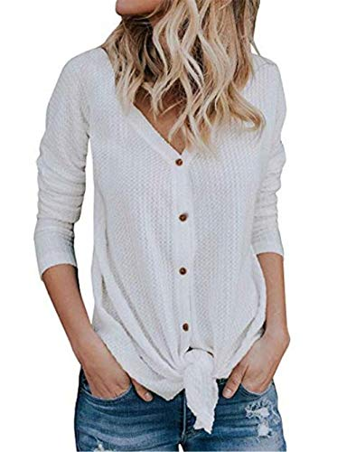 UGET Womens Long Sleeve V Neck Button Down Waffle Knit Tunic Blouse Tie Knot Henley Tops Asia XL White - Soft White Knit Blouse