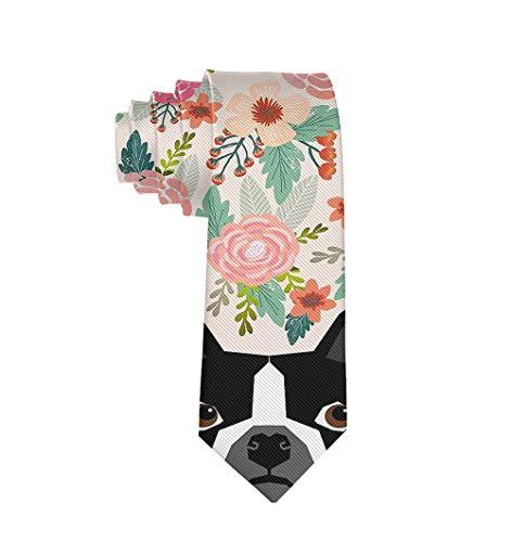 Fashion 3D Printed Boston Terrier Florals Mens Ties - Neckties Gift for Men, Boys, Teens