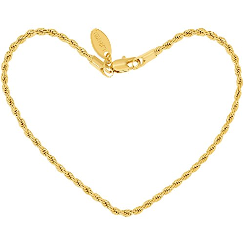 Gold Dangling Heart Bracelet - Lifetime Jewelry Anklets for Women Men and Teen Girls - 24K Gold Plated 2mm Rope Chain - Ankle Bracelet to Wear at Beach or Party - Cute Surfer Anklet (Yellow-Gold-Plated-Base, 10.0)