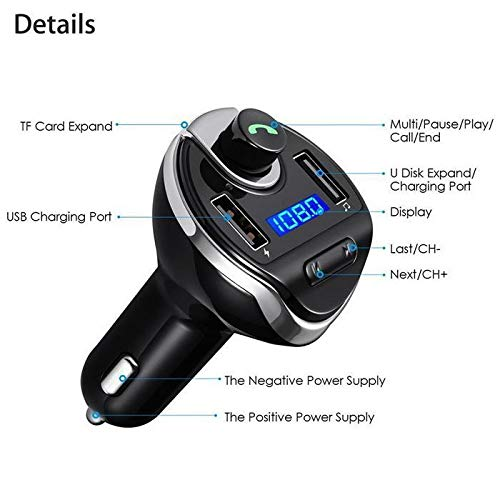 Bulges Bluetooth Multifunction Car MP3 Player Car Kit FM Transmitter Wireless 2 in 1 USB Charger
