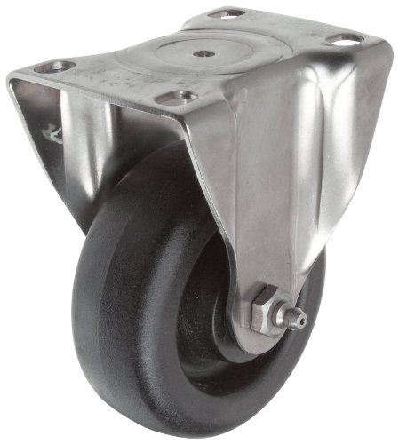 E.R. Wagner Plate Caster, Rigid, High-Temperature Nylon Wheel, Stainless Steel Plate, Plain Bearing, 200 lbs Capacity, 3'' Wheel Dia, 1-1/4'' Wheel Width, 4-1/16'' Mount Height, 3-5/8'' Plate Length, 2-5/8'' Plate Width by ER Wagner