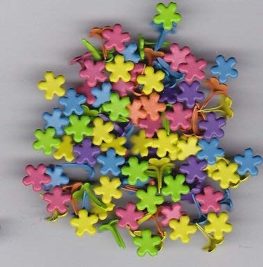 Mini Bright Colored Flower Brads 100ct