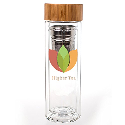 Insulated Tumbler- Double Glass Walls with Stainless Steel Tea Strainer and Stylish Bamboo Lid. Perfect For Steeping Loose Leaf or Blooming Teas. Ideal Thermos Flask or Travel Mug