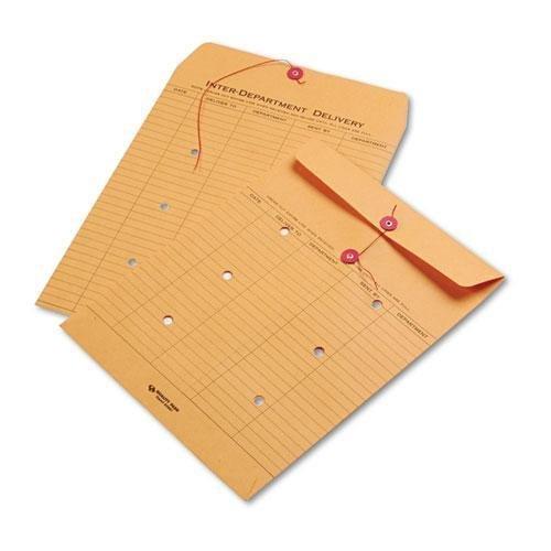 Quality Park 63561 Brown Kraft Kraft String & Button Interoffice Envelope, 10 x 13, 100/Carton