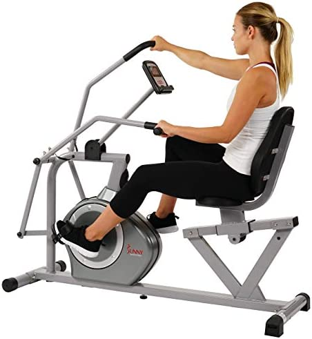 Sunny Health & Fitness Magnetic Recumbent Bike Exercise Bike, 350lb High Weight Capacity, Cross Training, Arm Exercisers, Monitor, Pulse Rate Monitoring - SF-RB4708 7