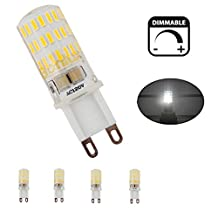Bonlux G9 Dimmable LED Light Bulb, 40w Equivalent Daylight White 6000k, G9 Bi-pin Base T4 Xenon Replacement Bulb for Under-cabinet Ceiling Fan Puck Lights Desk Lamp Lighting (5 Watts, Pack of 4)