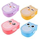 lUNCBOX Lunch Boxes Christmas 900Ml Cartoon Owl School Lunch Box With Spoon For Kids Food Fruit Storage Container Portable Bento Box Microwavable,Yellow