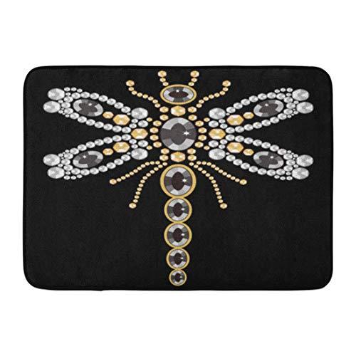 - Emvency Doormats Bath Rugs Outdoor/Indoor Door Mat Beautiful Pattern of Flying Dragonfly Shiny Gold Silver and Black Diamonds Jewelry Abstract Stock Bathroom Decor Rug 16