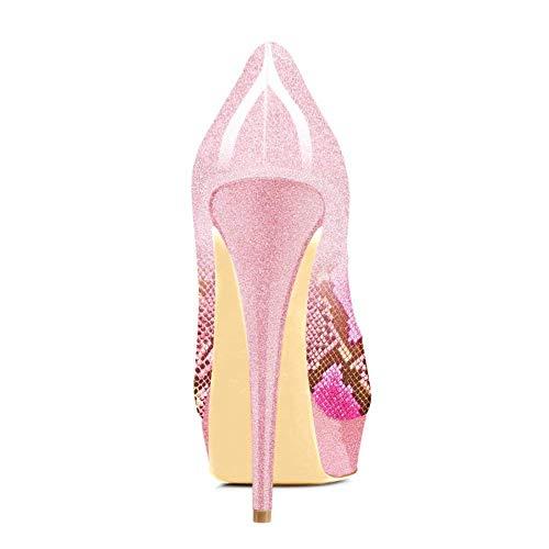 Caitlin col Slip Festa Rosa Piattaforma On Tacco Pompe Alti Stiletti Rosso Serpente Scarpe Fondo Peep Dress Sandali Pan Toe Donna Tacchi rZCqprw
