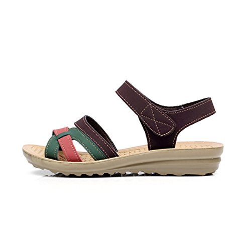 YoungSoul Sandalias de Mujer, Sandalias comodas Planas Zapatos de Verano Marrón