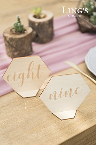 Ling's moment Vintage Elegant Hexagon Diamond Shape 1-15 Wood Table Number Cards Double-Sided Standing Place Card Holders for Wedding Party Bridal Shower Table Decor by Ling's moment (Image #2)