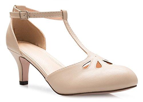 OLIVIA K Women's Kitten Low Heels T-Strap Pumps - Adorable Vintage Retro Shoes T Strap - Unique Upper Cut Out Design by OLIVIA K