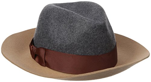 Genie by Eugenia Kim Women's Florence Wool Felt Wide-Brim Fedora Hat, Camel/Gray, One Size