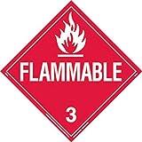 Brady 13/4'' X 13/4'' X 1/10'' Red On White B-120 Fiberglass DOT Vehicle Placard''FLAMMABLE 3''