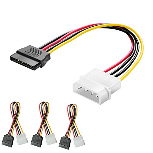 Modeshell Molex to SATA Power Cable, [3-Pack] LP 4 Pin to 15 Pin Female Adapter SSD Cables (8 Inch /20 cm)