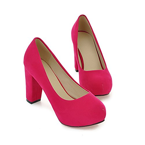 Lucksender Womens Closed Round Toe High Chunky Heels Frosted Pumps Rose Red GMRmFMILYK