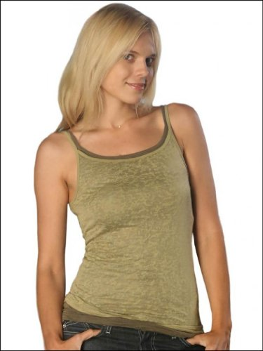 Womens Burnout Spaghetti Strap Tank Top nude 2-x- large