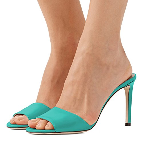 Turquoise Peep Party US Toe Heels Casual Size High FSJ 15 Women Sandals Stiletto Evening 4 Mule Shoes gfEcazH