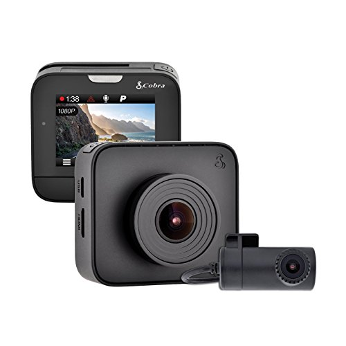 Cobra Drive HD Dash Cam DASH2216D Feat.1080p Full HD Front Cam and 720p HD Rear Cam, 16GB MicroSD Included, with G-Sensor Auto Accident Detection, Loop Recording, 160 Degree Ultra-Wide Angle DVR (Feat Card)