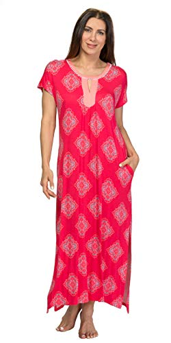 (ELLEN TRACY Rayon Blend Short Sleeve Knit Caftan in Fuchsia Emblem (Fuchsia/Emblem Print, Large/X-Large))