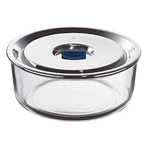 WMF para alimentos de cristal con cierre al vacío bol con 18/10 tapa de acero inoxidable, 18 cm de diámetro