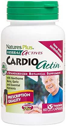 NaturesPlus Herbal Actives CardioActin - 60 Vegan Capsules - Healthy Heart Function Support Supplement, with English Hawthorne Berry, Garlic & CoQ10 - Vegetarian, Gluten-Free - 30 Servings