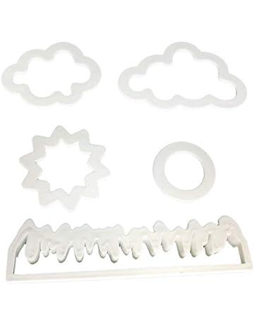 Ogquaton Hierba/Sol/Nube Cortador de Fondant de plástico Molde de Pastel Fondant Molde
