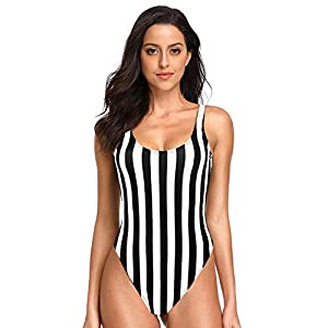 Dixperfect Women's Retro 80s/90s Inspired High Cut Low Back One Piece Swimwear Bathing Suits