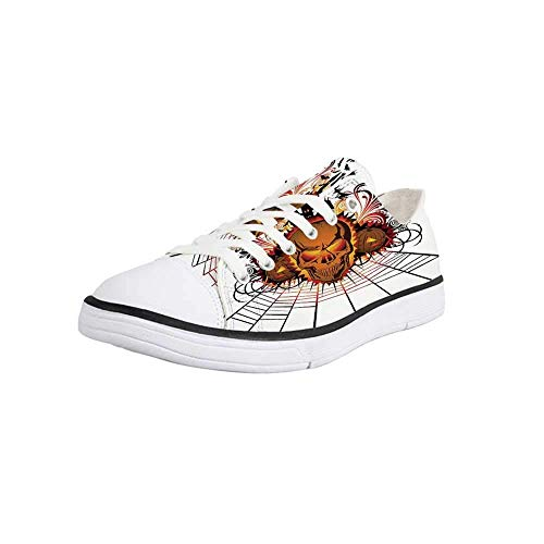 Canvas Sneaker Low Top Shoes,Halloween Decorations,Angry Skull Face on Bonfire Spirits of Other World Concept Bats Spider Web Women 10/Man 7]()