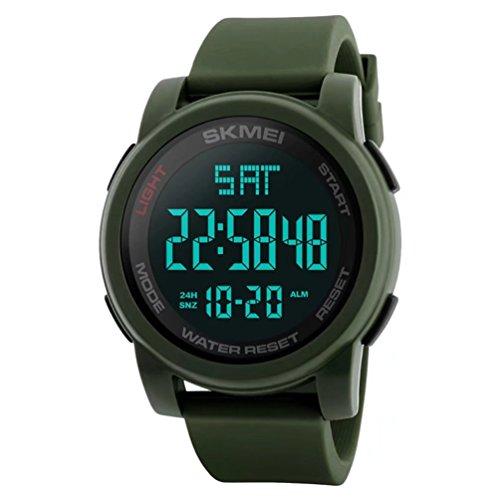 Wide Calendar Watch (Men's Digital Sport Watches Led Electronic Waterproof Wrist Watch with Alarm Stopwatch Dual Time Zone Backlight Calendar Date Window - Green)