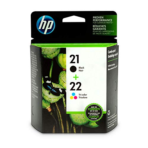 HP 21 Black & 22 Tri-color Ink Cartridges, 2 Cartridges (C9351AN, C9352AN) for HP Deskjet D1311 D1320 D1330 D1341 D1420 D1430 D1445 D1520 D1530 D2330 D2460 F340 HP Officejet 4315 J3640 J3680 1410