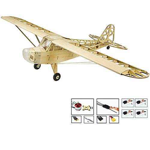 (Upgrade RC Plane Balsa Wood Airplane Kits Piper Cub J3 Bi-Plane, 47'' Wingspan Laser Cut Flying Model Aircraft Kits to Build, DIY Electric 4CH Remote Radio Controlled Airplane for Adults Fun Hobby Fly)
