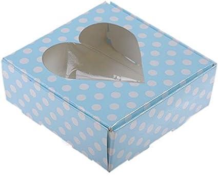 Deko Shop de azul Acetato Caja con corazón, 8 x 8 x 3 cm, 5 unidades