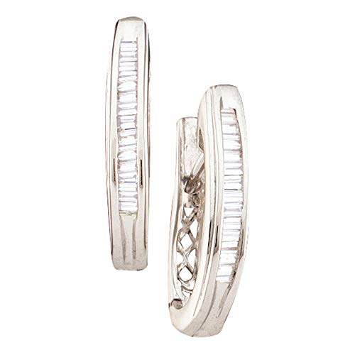 Jewel Tie Solid 14k White Gold Baguette Diamond Hoop Earrings (1/4 Cttw.) - 14k Diamond Hoop Gold Baguette
