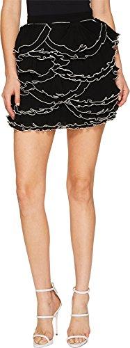 Boutique Moschino Women's Georgette Ruffle Skirt Black/White 38