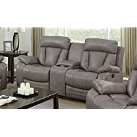Milan Bakersfield Reclining Gray Leather Air Love Seat