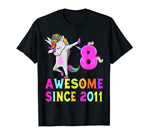 8 Little Girls And Awesome Since 2011 Unicorn Dabbing Shirt ()