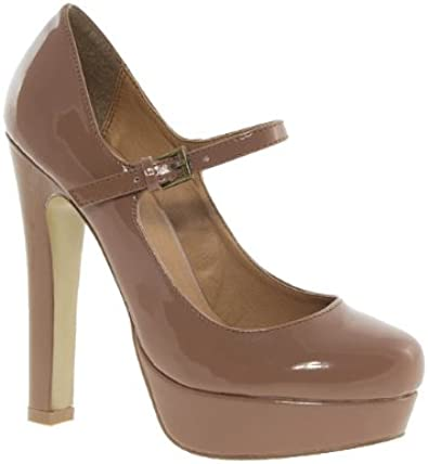 Barratts Womens Nude Patent Platform Mary Jane Court Shoes
