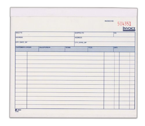 Adams Invoice Book, 2 Part, Carbonless, 8.38 x 7.19 Inches, 50 Sets per Book, White and Canary (D8740)