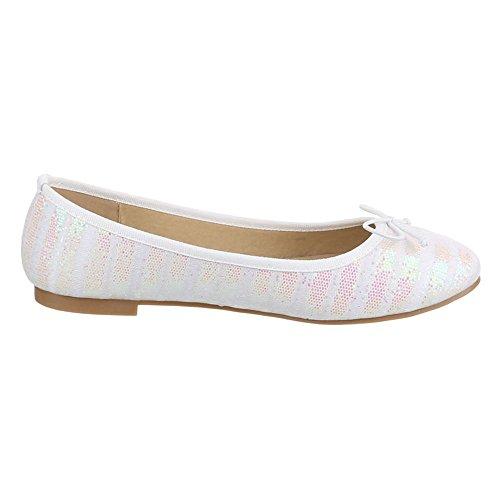 Ital-Design - Bailarinas Mujer Blanco - Weiß Rosa