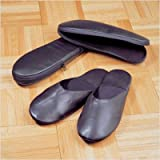 Black Cowhide Nappa Leather Travel Slippers with Case Size: Large