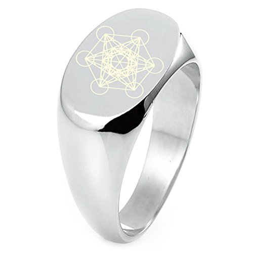Sterling Silver Metatron's Cube Symbol Engraved Oval Flat Top Polished Ring, Size 9 ()